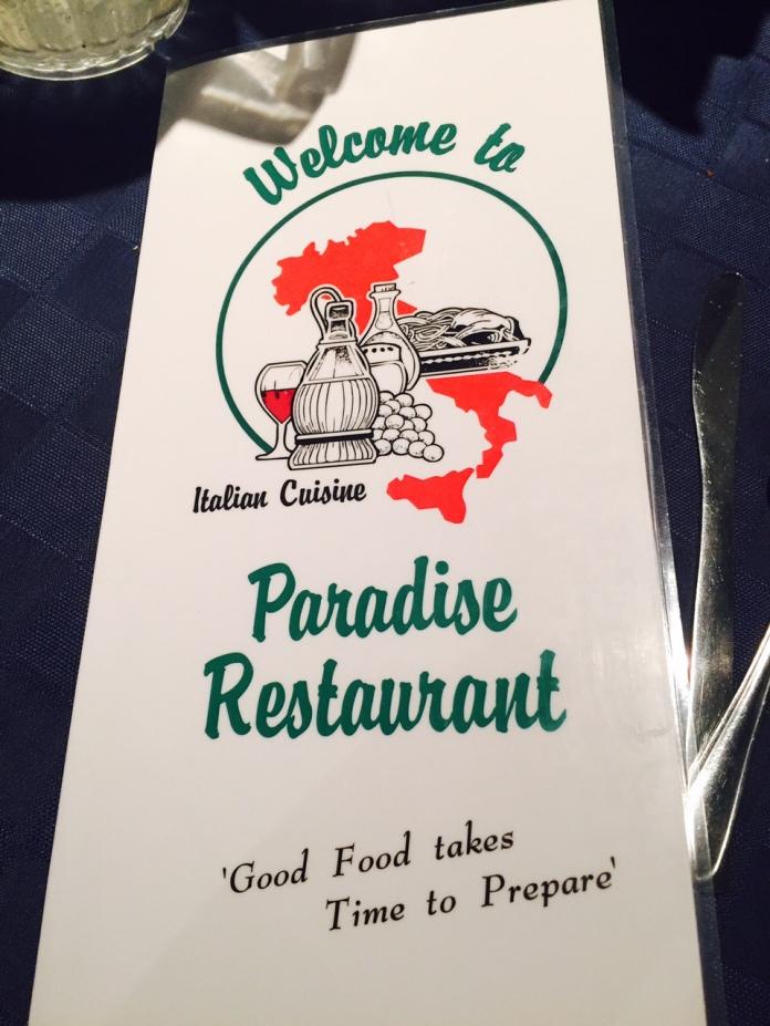 paradise menu